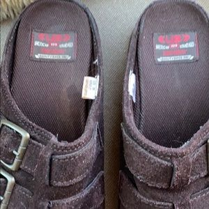Vintage Shoes - Vintage 90's Chunky Platform Suede Clogs Unionbay